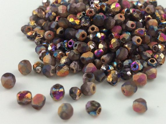 4mm Faceted Round Fire Polished Beads, Etched Crystal Full Sliperit, 100 pieces