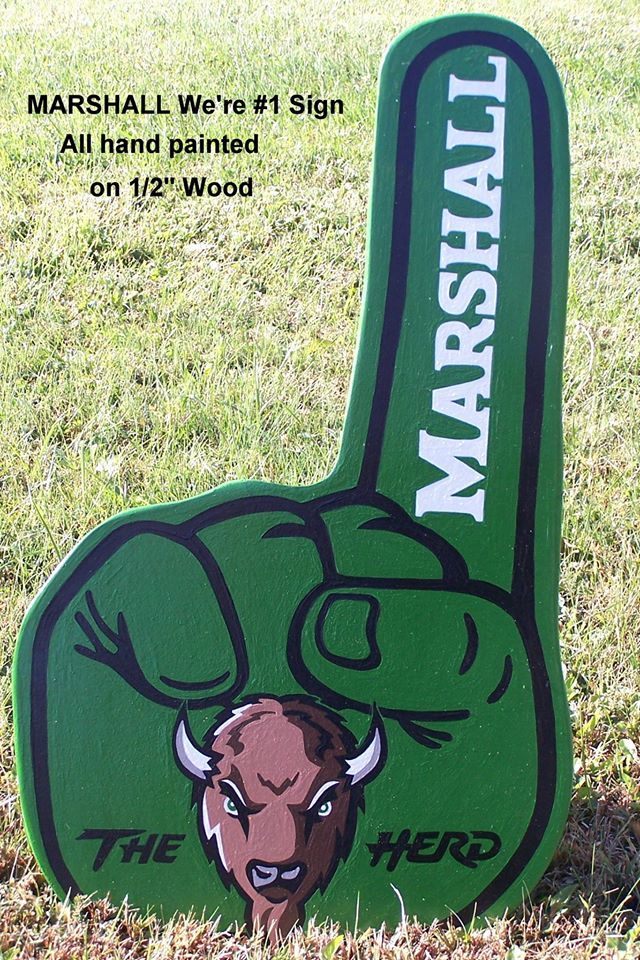 MARSHALL Thundering Herd.   Were #1 Logo Wood Decor Sign.   Very Retro...... A must item for you Herd Fans!