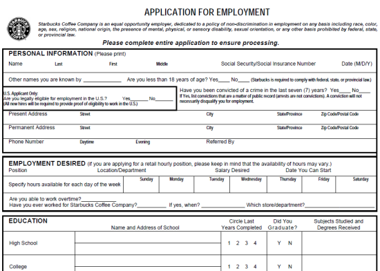 Job Application Form Pdf Romeondinez