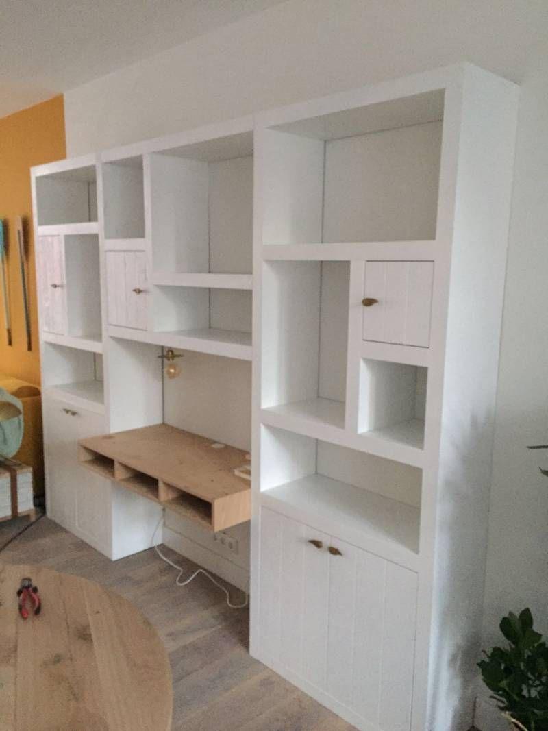 boekenkast eikenhout bureau ral wit speelse verdeling te boveldt meubelmakerij interieurbouw