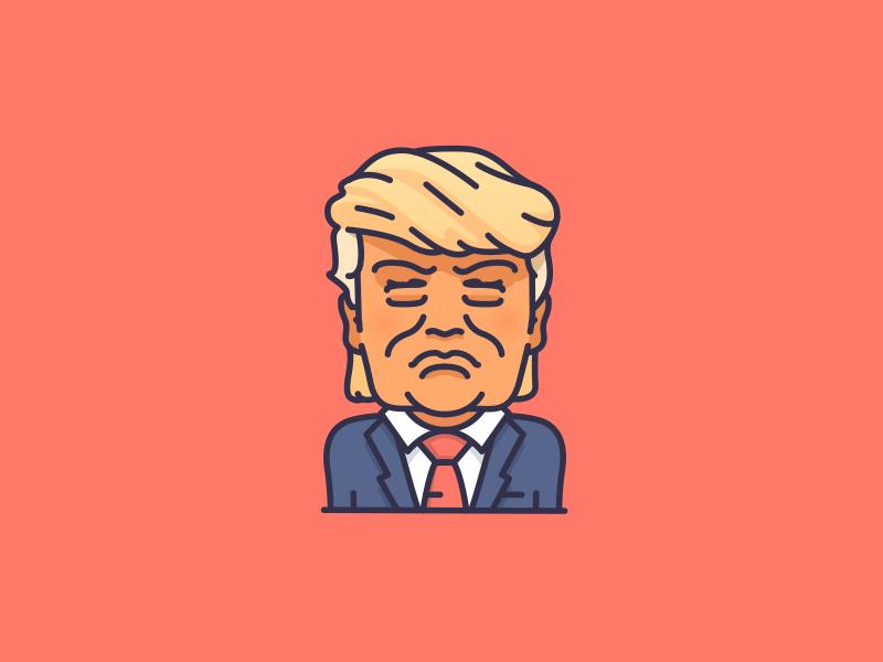 Trump Character Illustration Simple Cartoon Political Art
