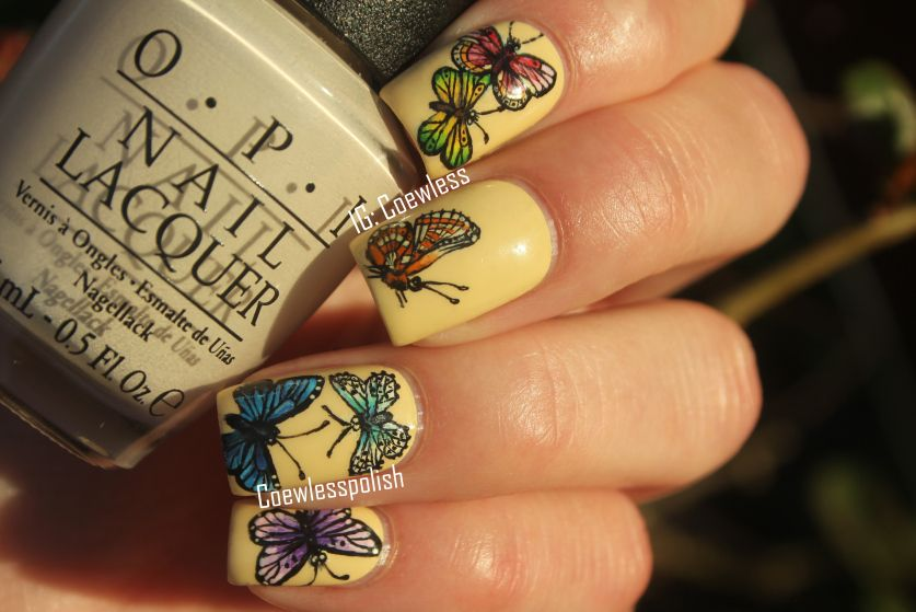 Gorgeous butterfly nail art from Coewless.blogspot.com