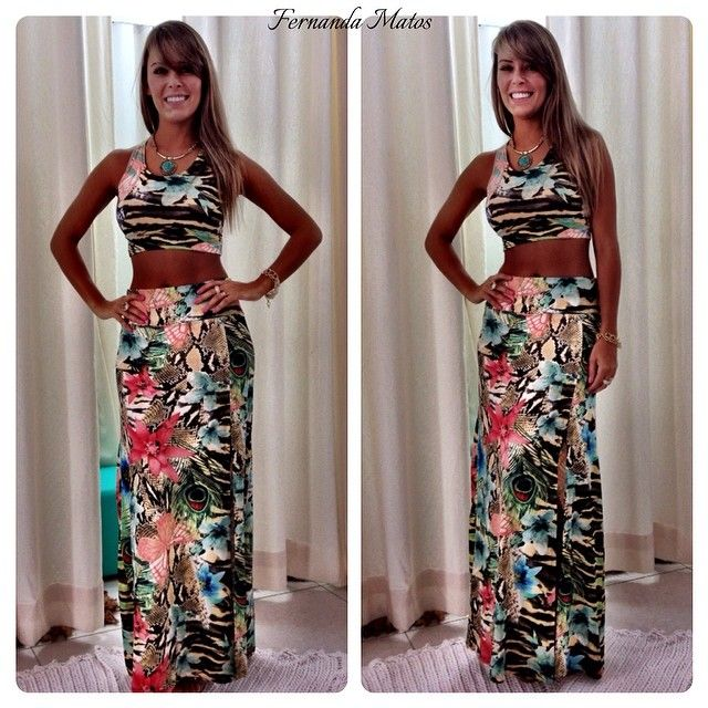 8606e2c96 Instagram media by fefemattos - ARRASE COM AS NOVIDADES!!!!  👏👏👏👏👏👏👏👏👏👏 Conjunto Saia Longa com Fenda mais cropped