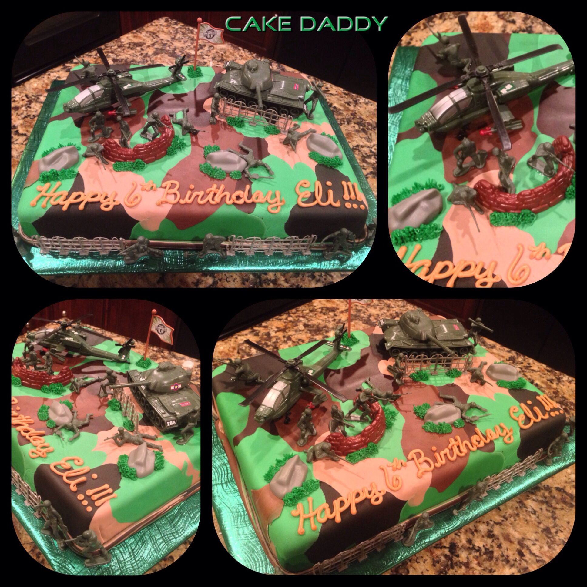 Camouflage and army men sheet cake Custom Cakes by Cake Daddy