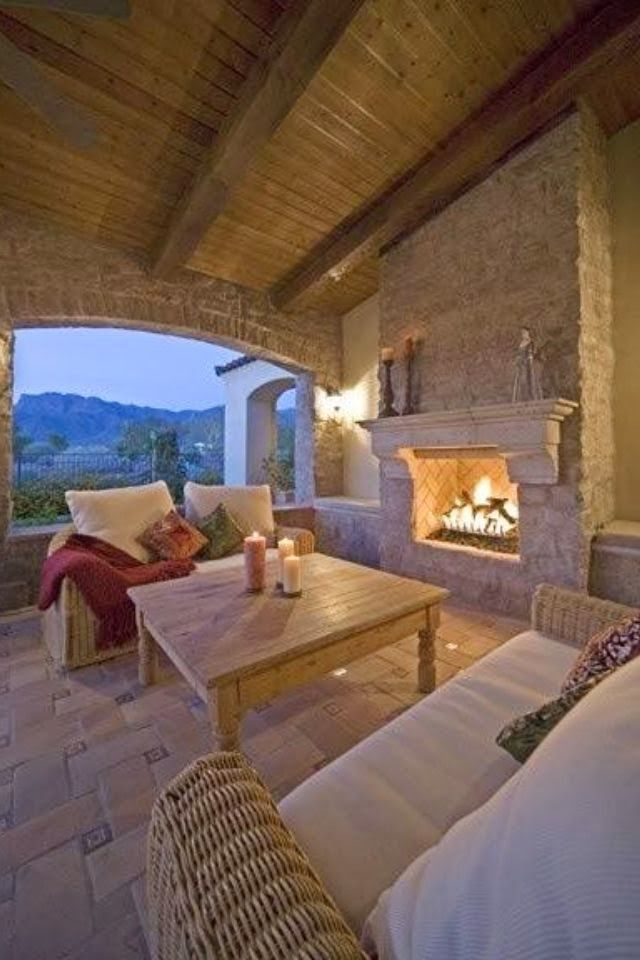 Outdoor Fireplace Ideas | Wood trim | Pinterest | Terrazas ...