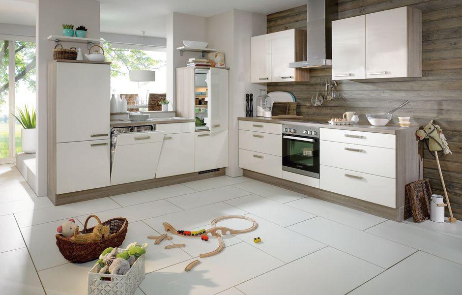 Eckküche ATLANTA Magnolie Softmatt mit Elektrogeräte - DYK360 - küche magnolia hochglanz