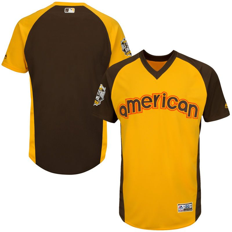a8cafe07f American League Majestic 2016 MLB All-Star Game Batting Practice Jersey -  Yellow Brown