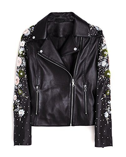 50a9d72d56fd Uterque Women Biker Jacket with Embroidered Flowers 0619/550 ...