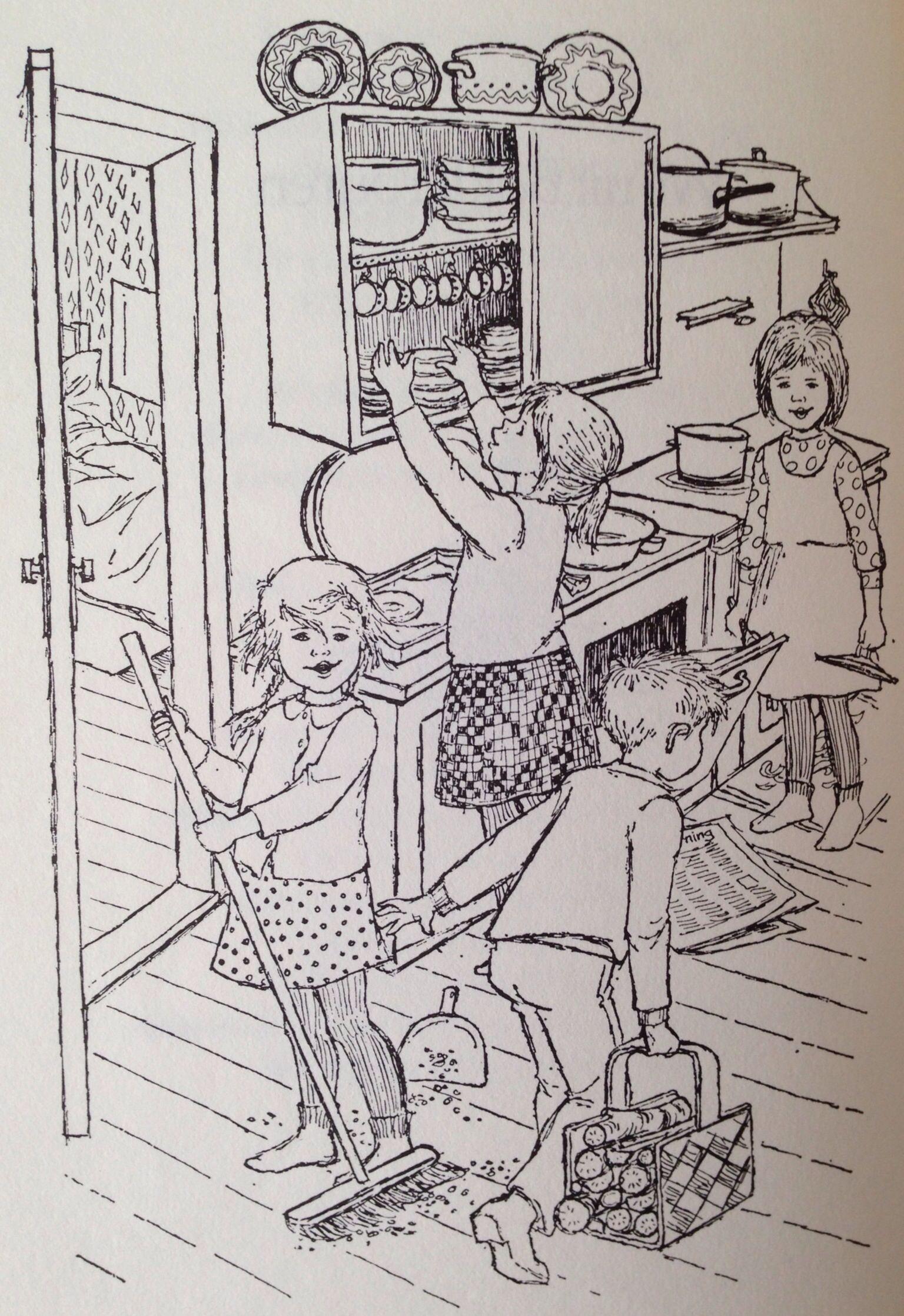 Illustratie Ilon Wikland Uit De Kinderen Van Bolderburen Black And White Drawing Illustration Kido