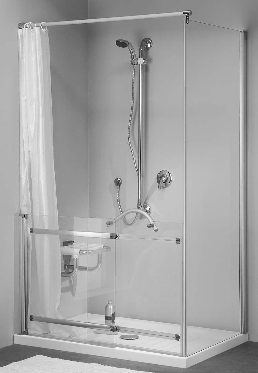 Sedile Per Box Doccia.Box Doccia Con Maniglione Di Sicurezza E Sedile Bathroom Hooks Bathroom
