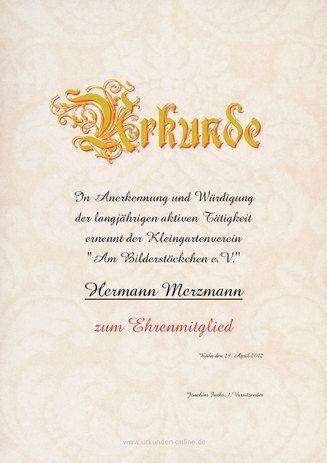 Beispiel: Muster-Urkunde-Ehrenmitglied | Urkunden | Pinterest ...