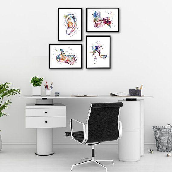 Audiology Art Human Ear Anatomy Watercolor Prints Set of 4 Audiologist Gift Doctor Office Decor Clinic Wall Art #doctoroffice