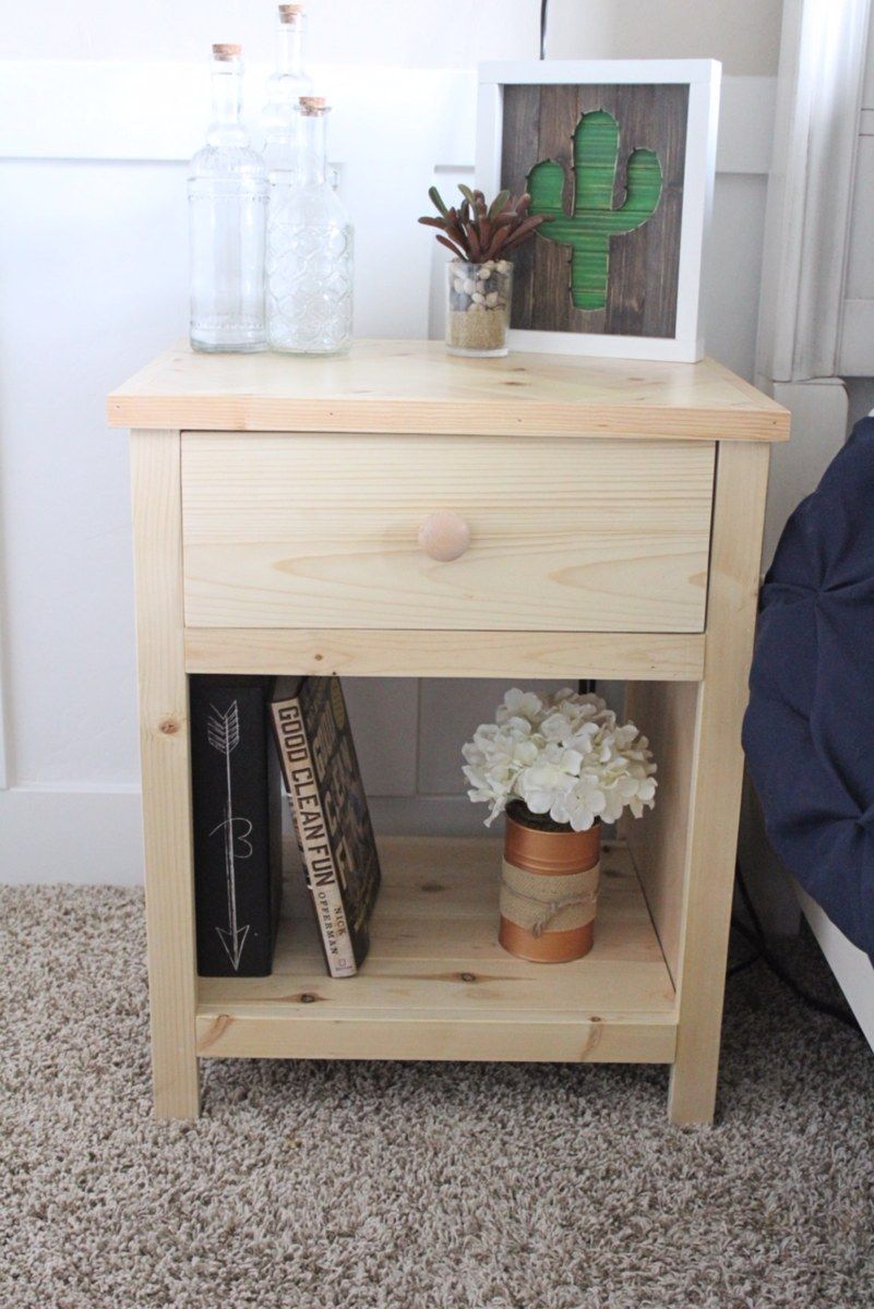 Free Plans For This Farmhouse Style Nightstand With A Herringbone Top Diy Furniture Plans Diy Furniture Projects Diy Furniture