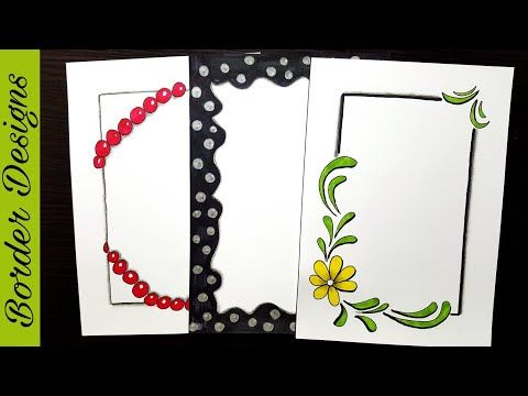Dots border designs on paper project work borders also ribbon draw rh pinterest