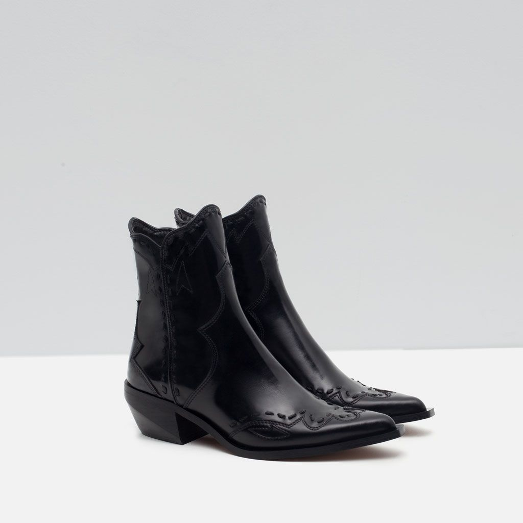 FLAT LEATHER COWBOY ANKLE BOOTS-View all-Shoes-WOMAN-SALE | ZARA
