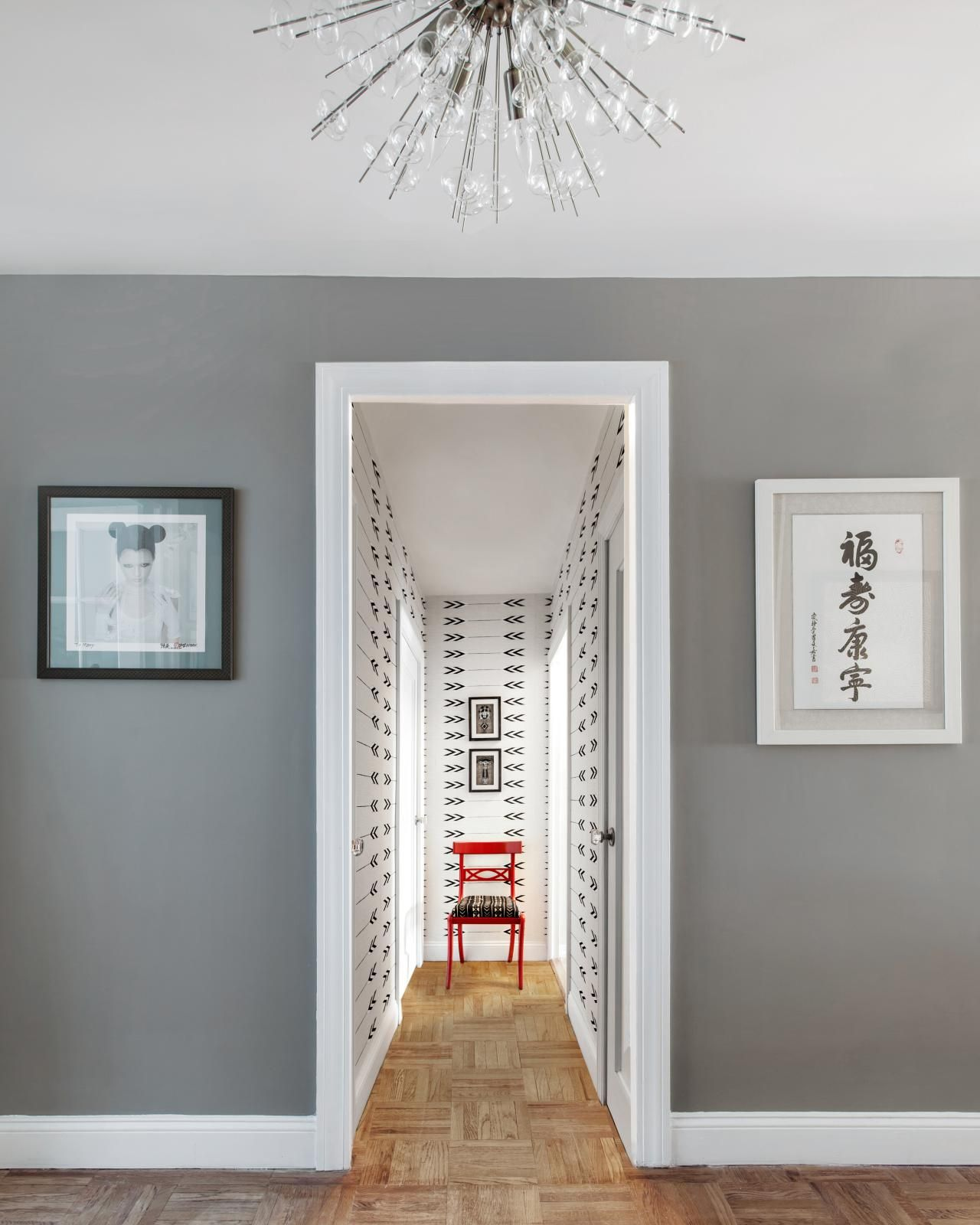 Interior Design White Walls: Gray Walls With Cool White Trim Give Way To A Wallpapered