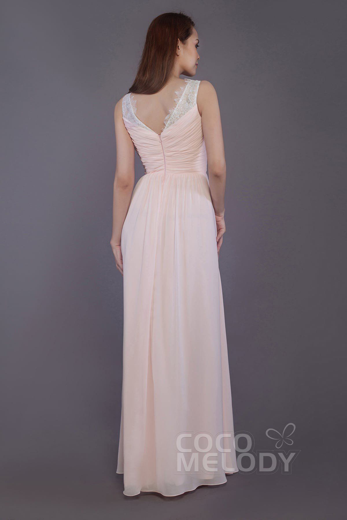 Charming Sheath-Column Straps Natural Floor Length Chiffon and Lace  Sleeveless Zipper Bridesmaid Dress with Pleating  PR3542  bridesmaids   bridesmaiddress ... 7d77171b3