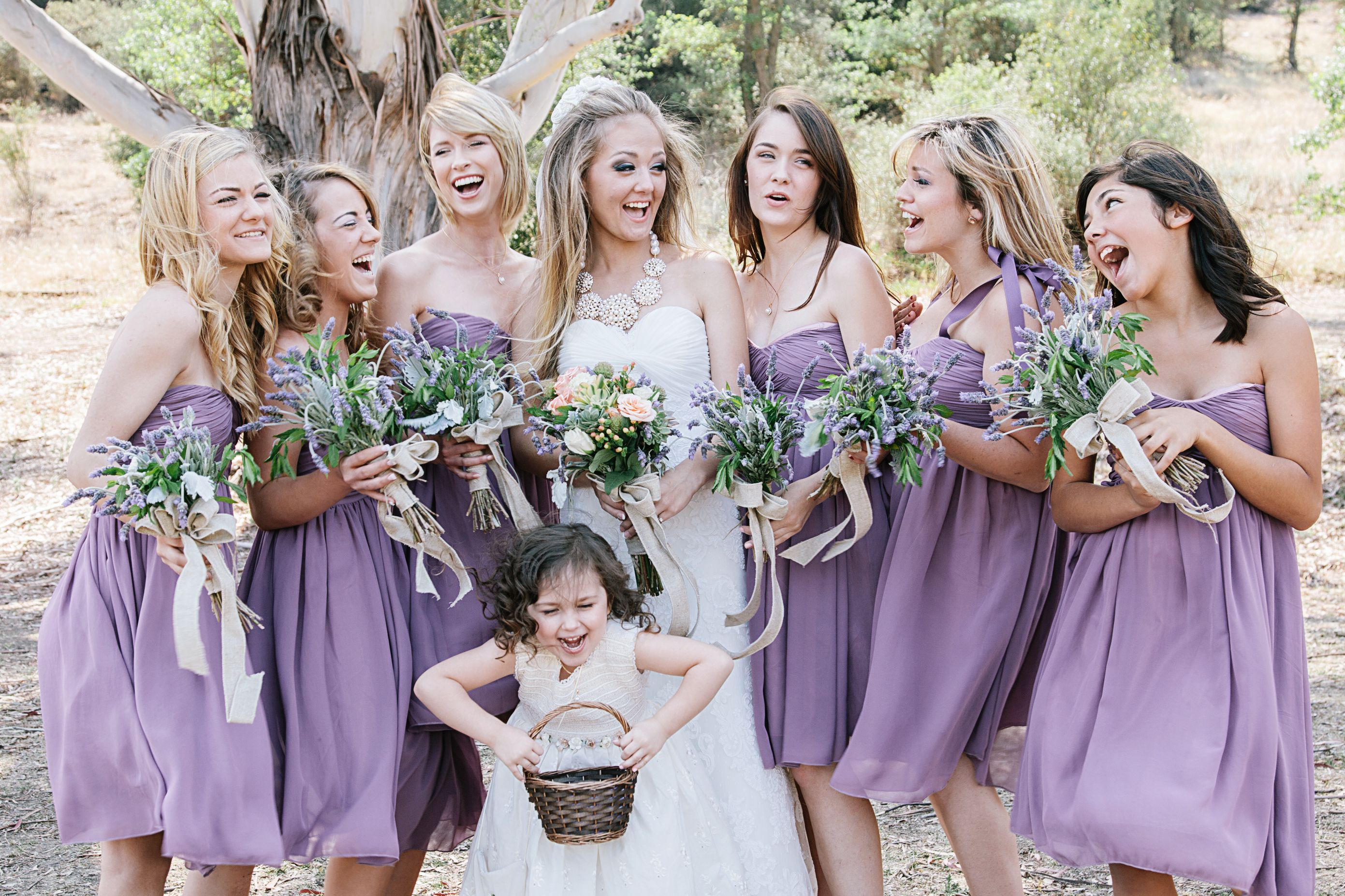 Paramount Ranch wedding with Dusty lavender bridesmaids dresses, and ...