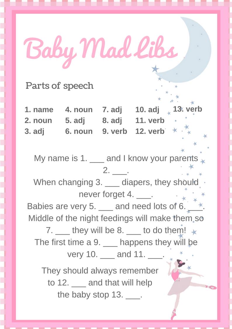 Ballerina Baby Shower Printable Set | Pinterest | Mad libs game ...