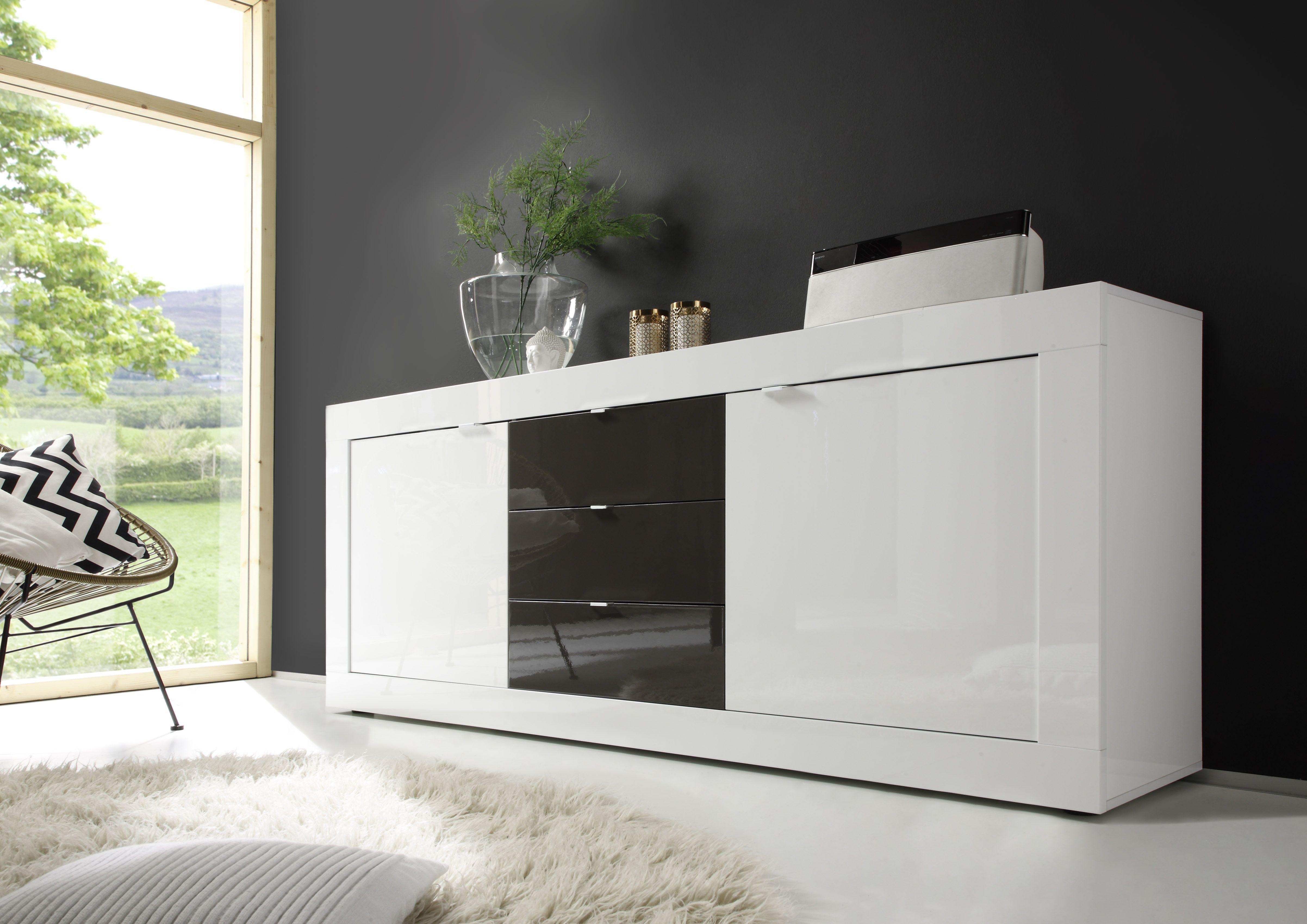 Highboard Wohnzimmer ~ Sideboard weiss anthrazit lack woody 12 00914 modern jetzt