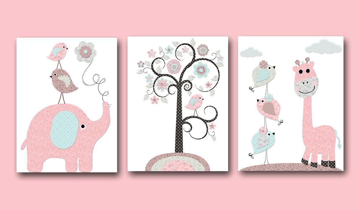 Pink Grey Blue Brown Baby Girl Wall Decor Canvas Nursery Print