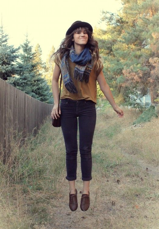 My Version Black Skinnies Tan Top Scarf Hat Vintage Shoes Fashion Style Outfits