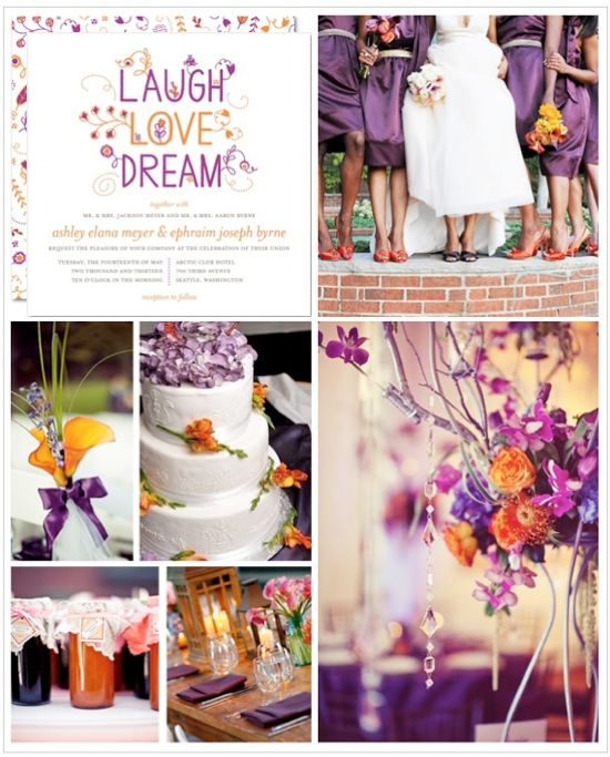 Orange And Purple Wedding Inspiration Board