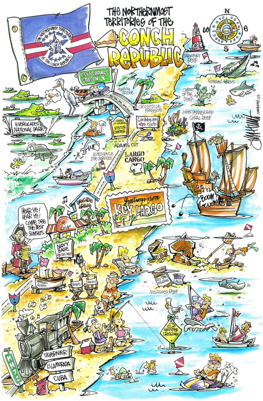 conch republic cartoon map illustrated map map conch republic cartoon map