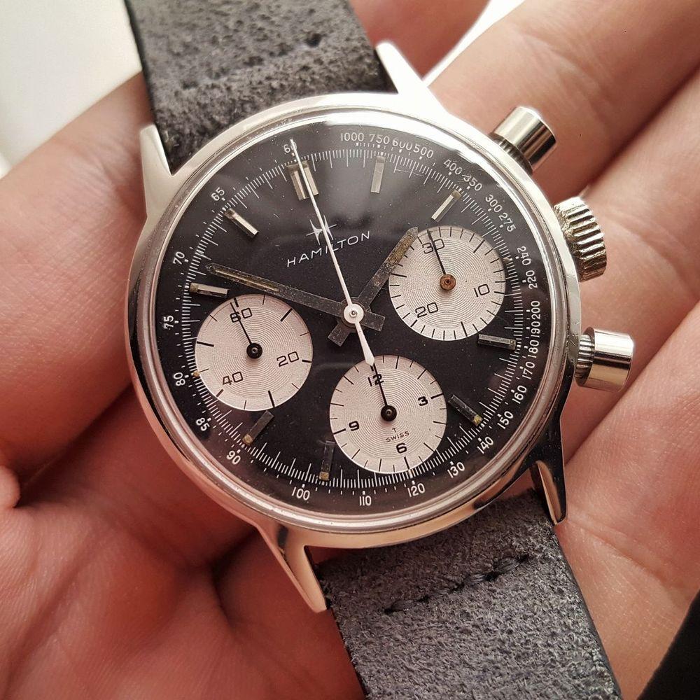 best website 035dd d4fdb Details about Vintage 1960s Elgin Reverse Panda Chronograph ...