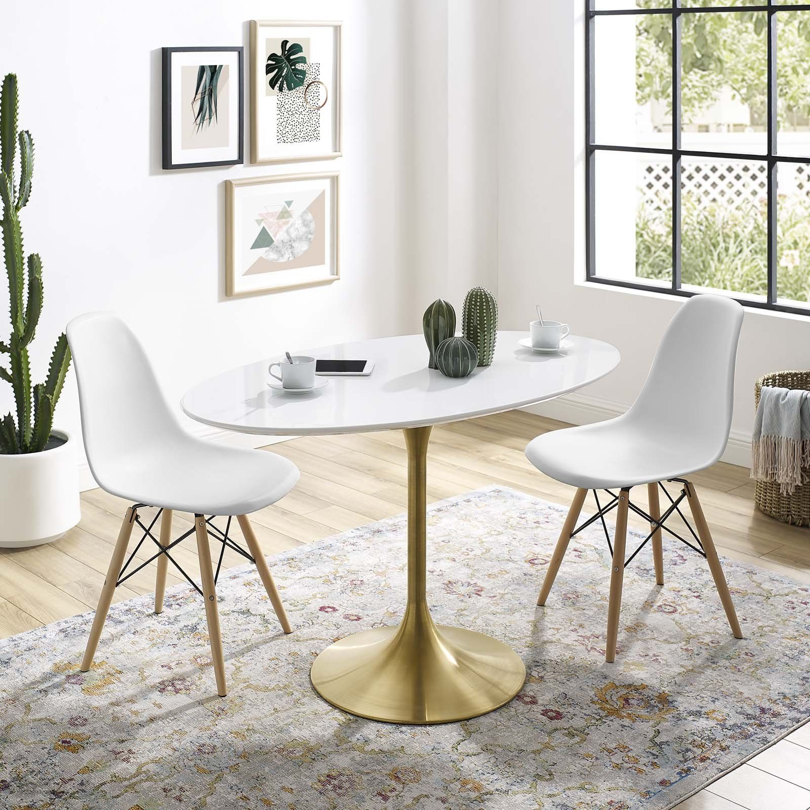 Modway Lippa 78 Oval Fiberglass Dining Table White Oval Table