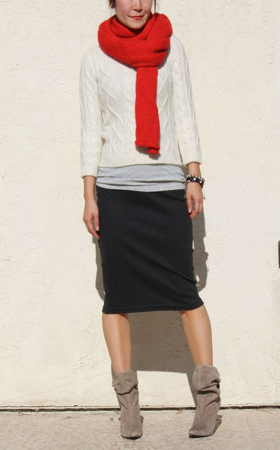 Everyday black Pencil Skirt Casually styled and a pop of red Faboulos! What to wear to work ...