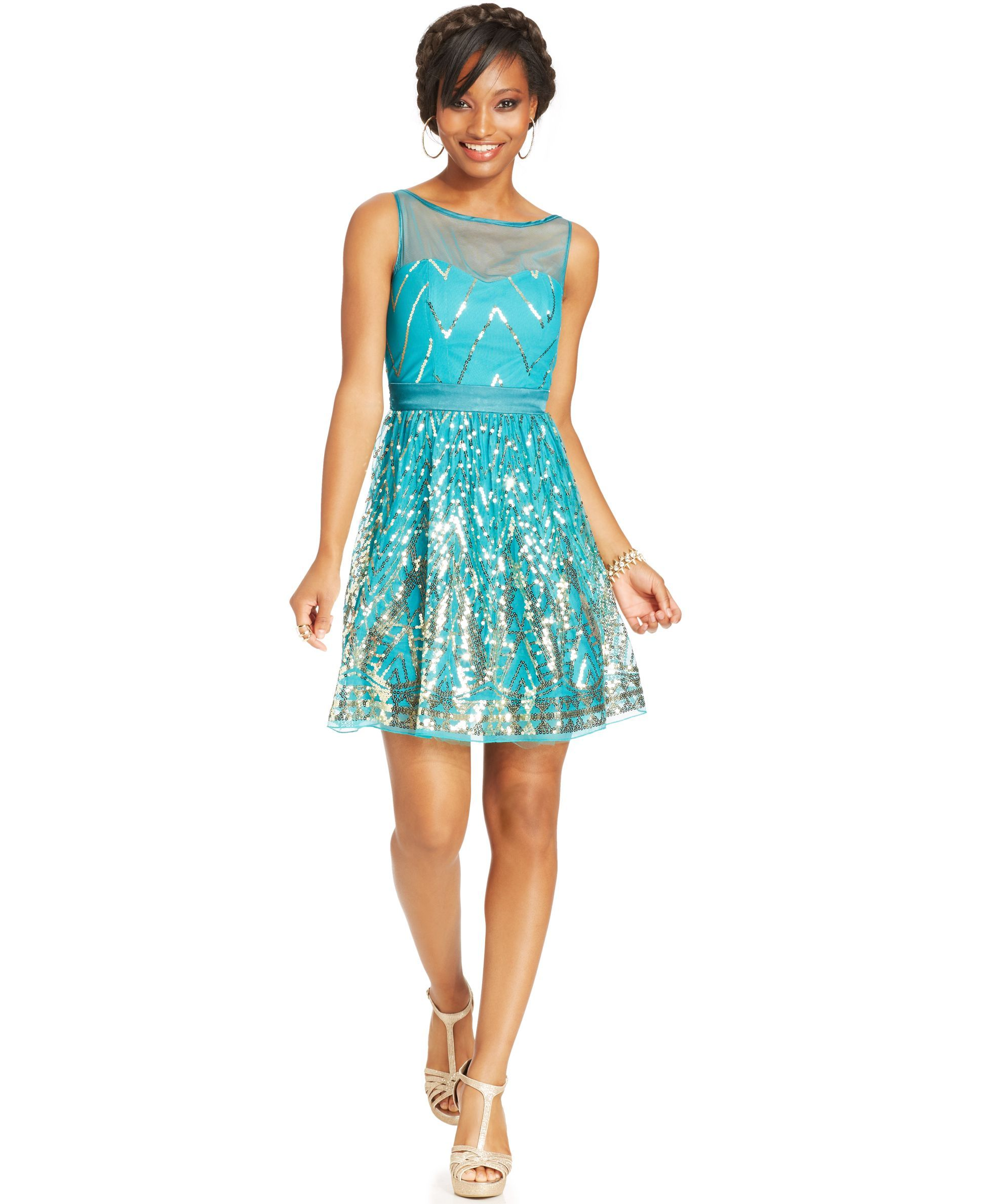 Crystal Doll Juniors' Sequin A-line Dress