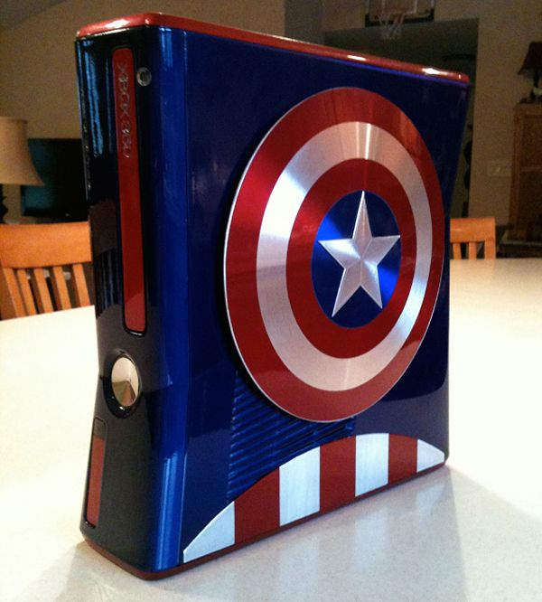 Awesome Captain America Xbox 360 Case Mod Custom Xbox Captain America Xbox