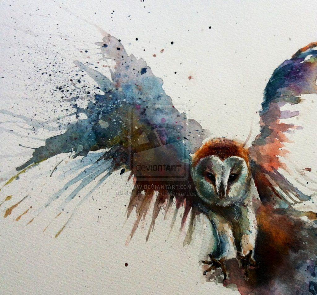 Barn Owl In Flight Watercolour By Sarahstokes.deviantart