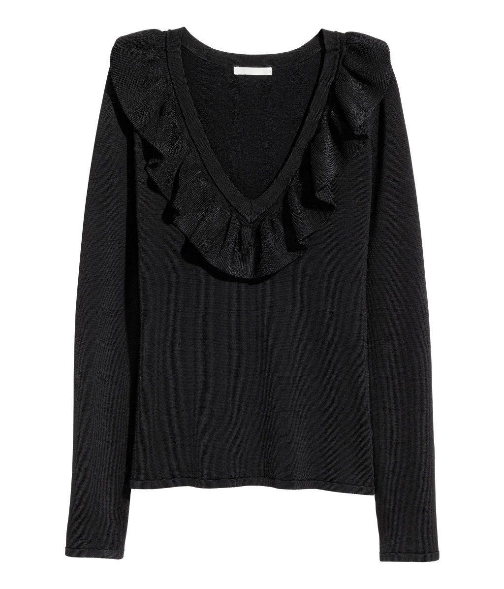 V-aukkoinen pusero | Musta | Naiset | H&M FI