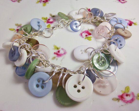 Sea breeze button bracelet dangle charm by VermontJewelryShop, $17.00