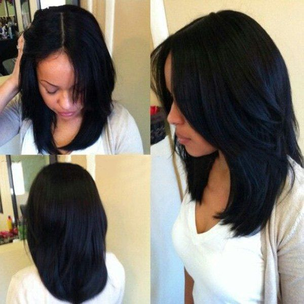 Fashion Medium Straight Middle Part Black Synthetic Hair Wig | Pinterest