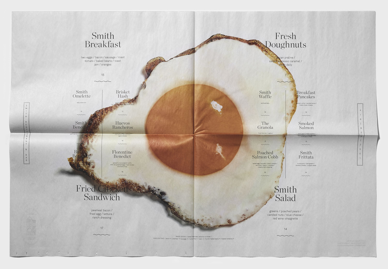 Smith brunch menu restaurant newspaper design