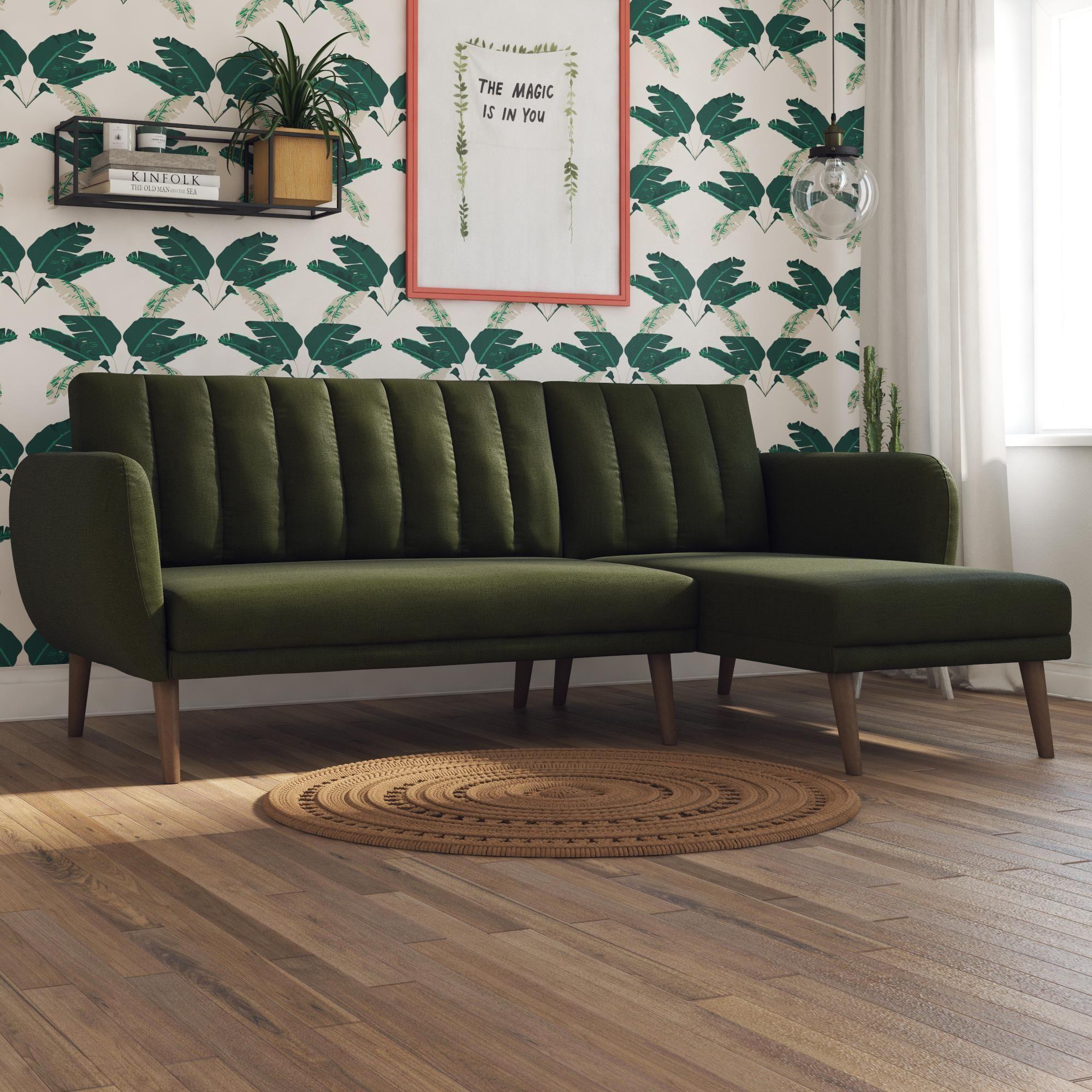 Novogratz Brittany Sectional Futon Sofa Green Linen Walmart Com Sectional Sofa Futon Sofa Chaise Sofa