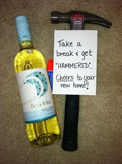 Humorous Housewarming Gift Wine Gles With Chalkboard Labels Bottle Of And Hammer Note Take A Break Get Hammered Housewarminggift