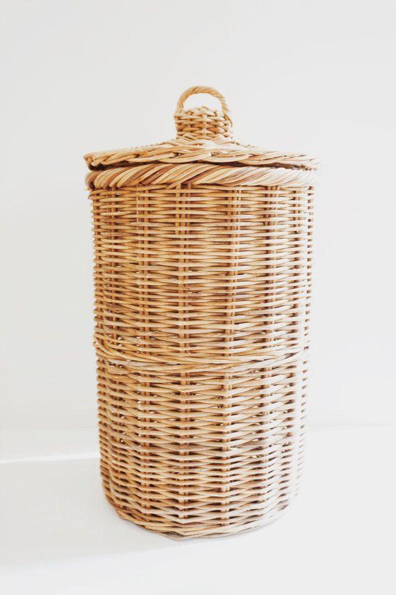 Vintage Wicker Rattan Hamper, Large Wicker Hamper, Basket Woven Hamper with  Lid, Vintage