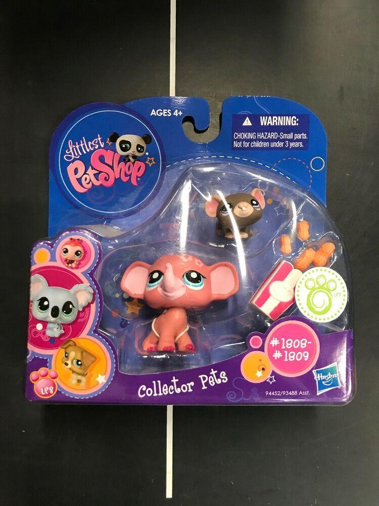Littlest Pet Shop Lps 1808 Dark Gray Mouse 1809 Pink Baby Elephant New In Pack Hasbro Pet Shop Littlest Pet Shop Little Pets