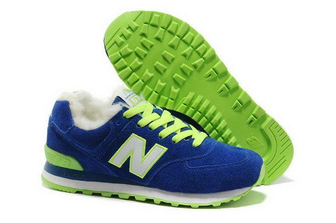 bcb421e3f39 New Balance 574 Suede Lana por Invierno azul verde Blanco Hombres Warm  Zapatos más Destacado
