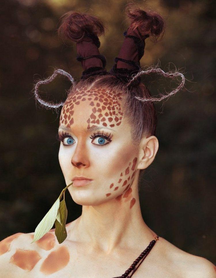 Kostum Damen Tier Giraffe Karneval Schminke Fasching Carnival