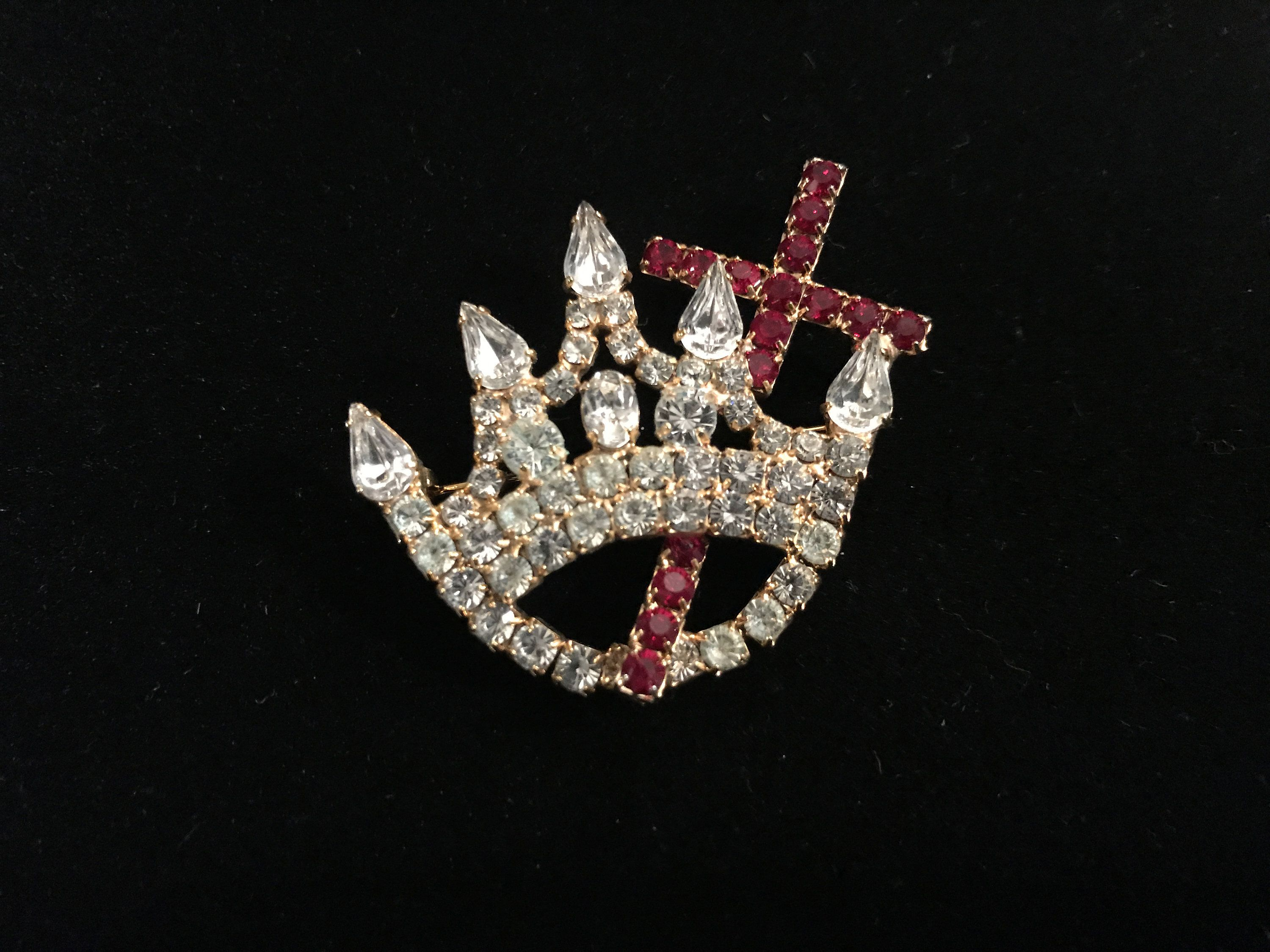 Cross & Crown! Vintage Rhinestone Tiara Crown and Cross Brooch Pin Unsigned- Free Shipping to USA #vintagerhinestone