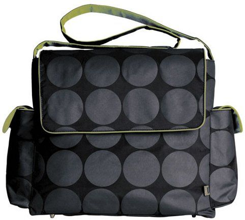 OiOi Messenger Diaper Bag, Grey Dot with Green