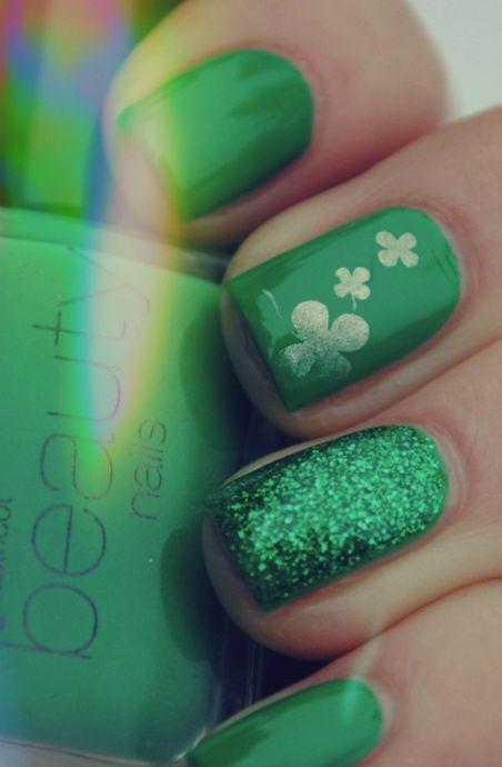 St. Patrick\'s Day Nails. | esmaltes | Pinterest | Esmalte, Diseños ...
