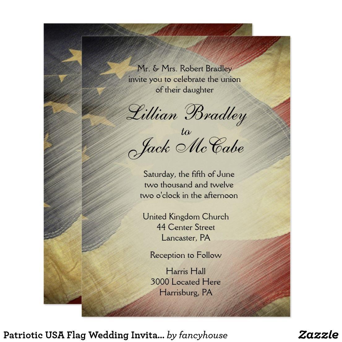 Patriotic USA Flag Wedding Invitations | Usa flag and Weddings