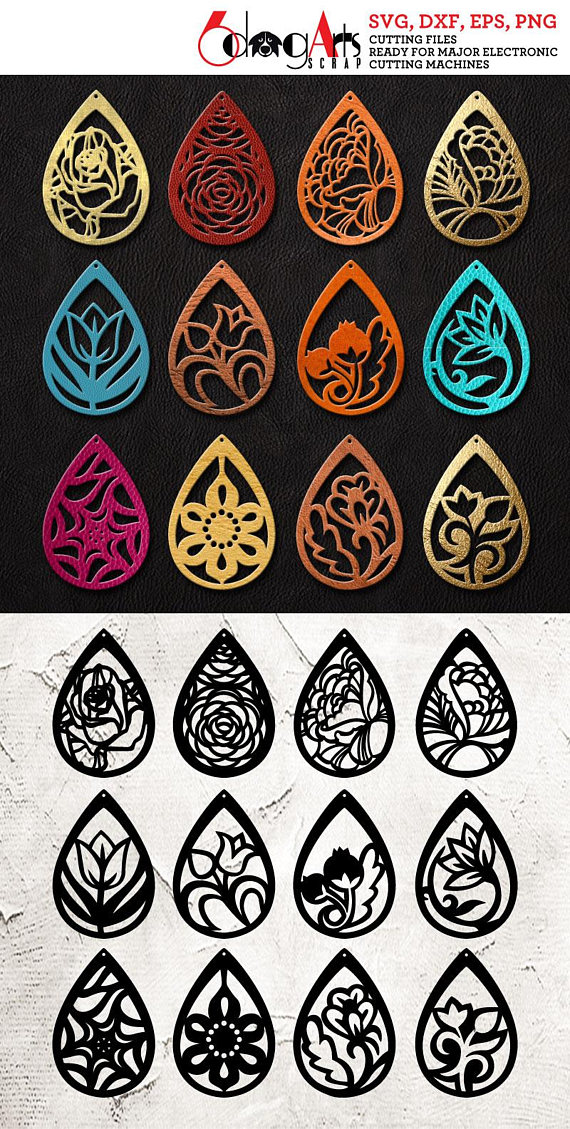12 Leather Wood Earring Templates Vector Digital Svg Dxf