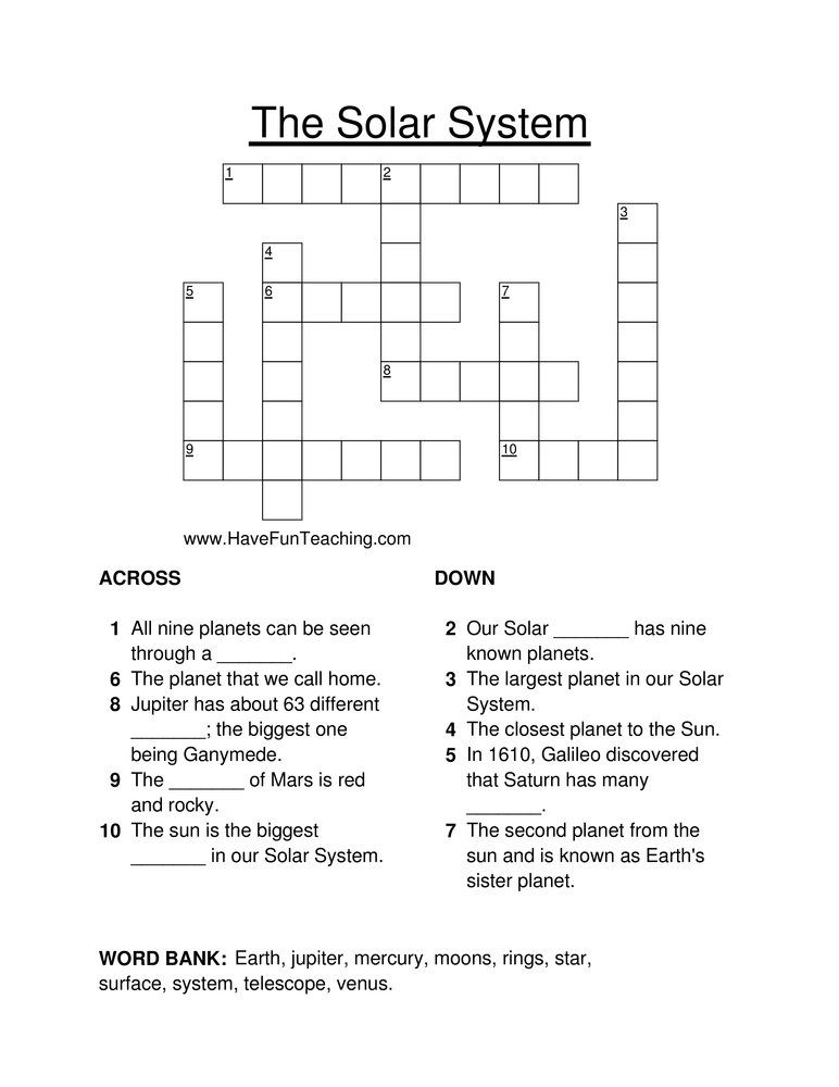 Solar System Crossword Puzzle Solar System Worksheets Solar System Lessons Have Fun Teaching 5th grade solar system worksheet